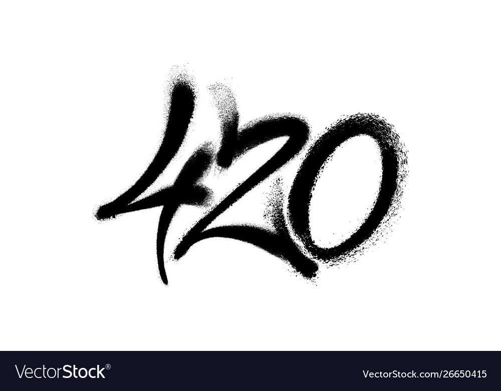 Sprayed 420 tag graffiti with overspray in black.