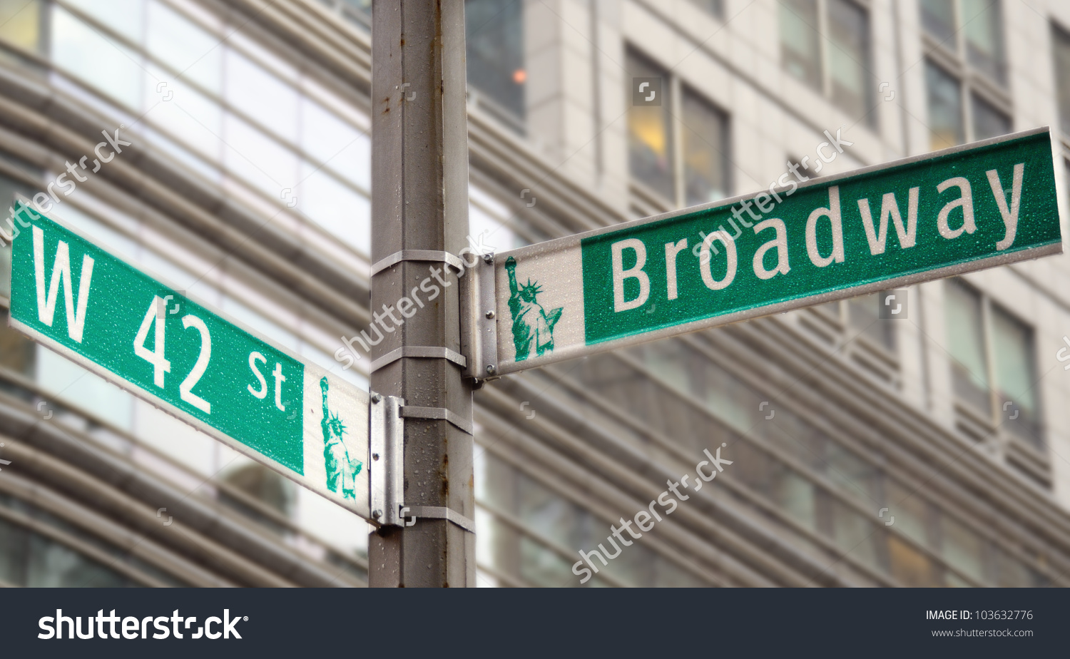 Street Signs Broadway 42nd Street New Stock Photo 103632776.