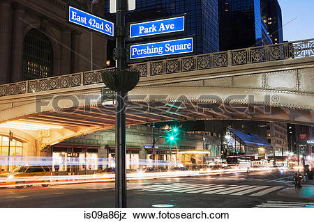 Pictures of East 42nd Street and Park Avenue street sign, New York.