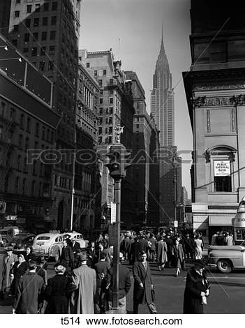 Stock Photography of 1930S Nyc Street People Pedestrians Crossing.