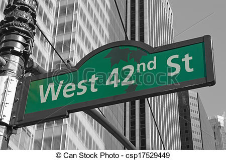 Stock Photo of Street signs for West 42nd street in NYC.