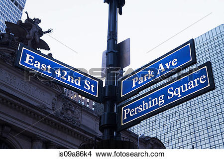 Stock Photo of East 42nd St and Park Ave street signs, New York.