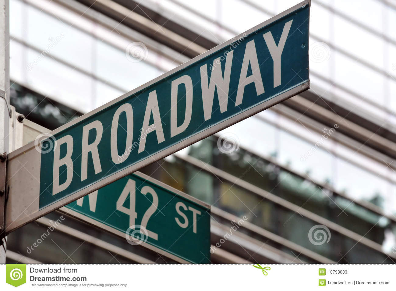 Broadway 42nd street sign stock image. Image of intersection.