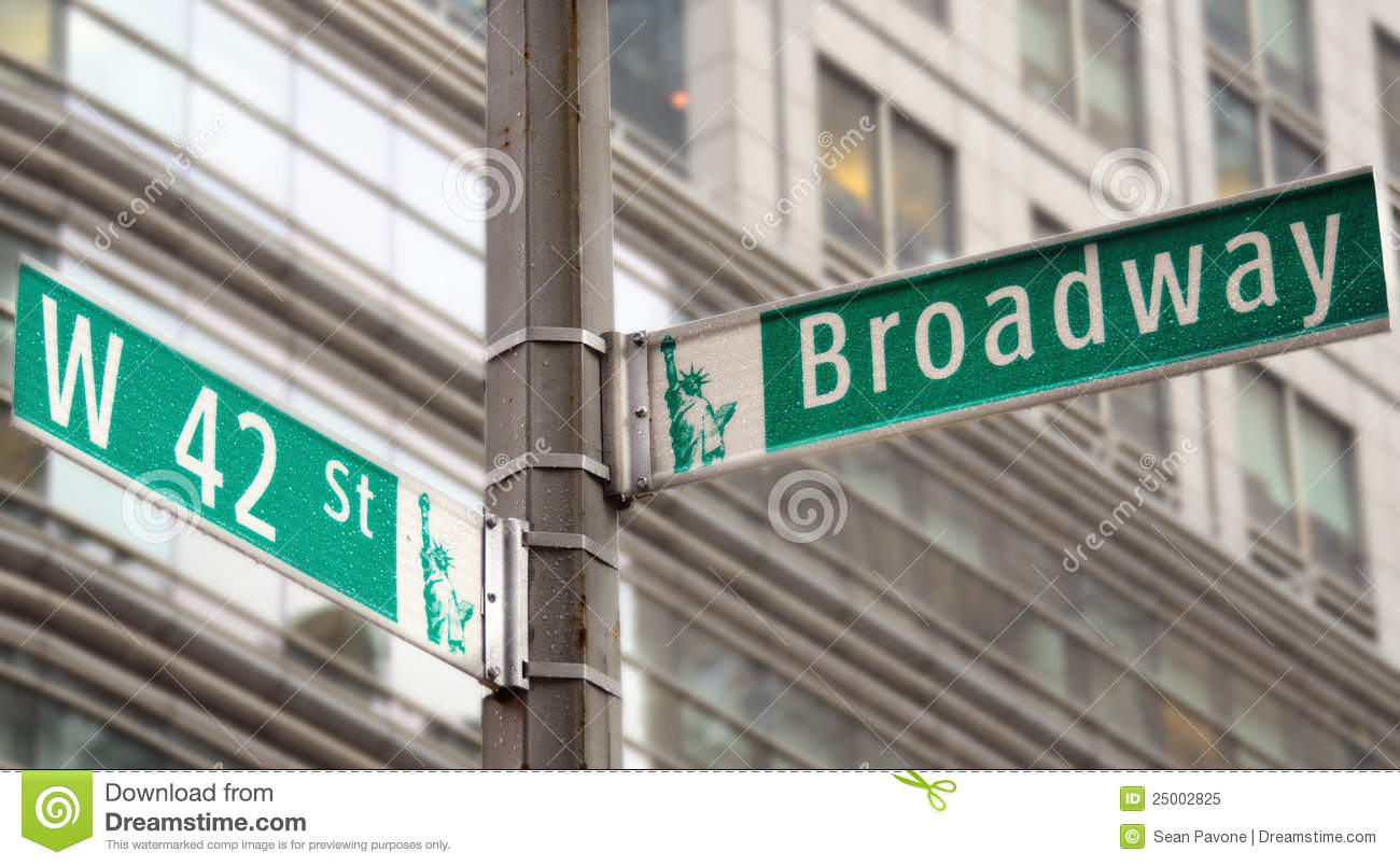 Broadway and 42nd Street stock image. Image of square.