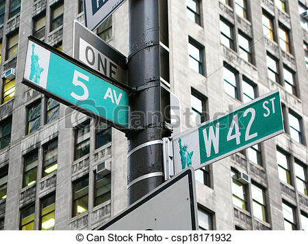 Stock Photos of New York: the intersection of 42nd street and 5th.