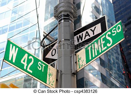 Stock Image of Broadway and 42nd Street Intersection.