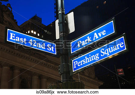Picture of East 42nd Street and Park Avenue signs, New York City.