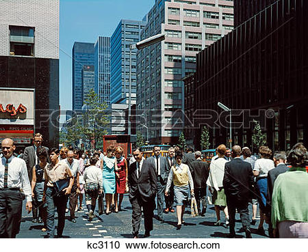 Stock Photography of 1960S Pedestrians Crossing New York City.