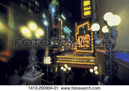 Stock Photography of 42nd street lights NYC. 1413.
