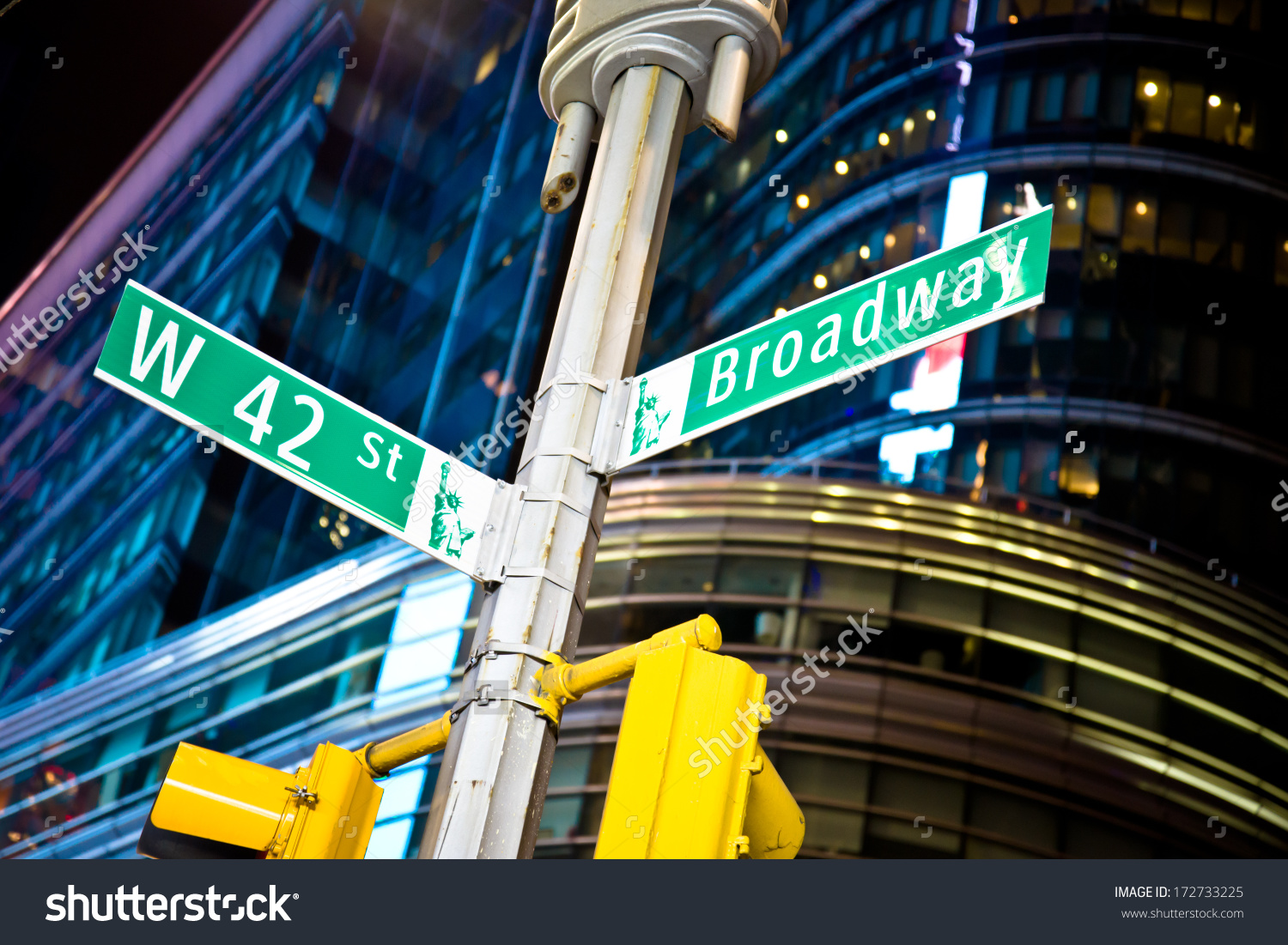 42nd Street Broadway Intersection New Yorks Stock Photo 172733225.