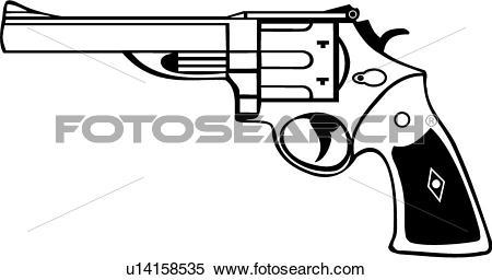 Clipart of , gun, revolver, six shooter, mag, magnum, 44 mag.