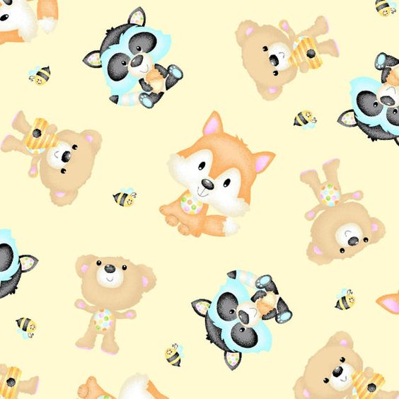 A CHILDRENS FABRIC WOODLAND CUTIES BUTTERCREAM TOSSED ANIMALS 44.