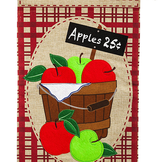 Evergreen Apple Basket Burlap House Flag, 28 X 44 Inches.