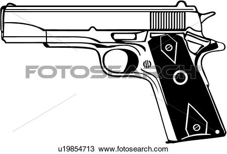 Clipart of , gun, 45, automatic, pistol, weapon, u19854713.