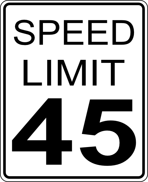 45mph Speed Limit Road Sign Clip Art at Clker.com.