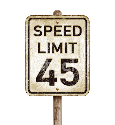 Vintage American Speed Limit 45 Mph Road Sign Vector.