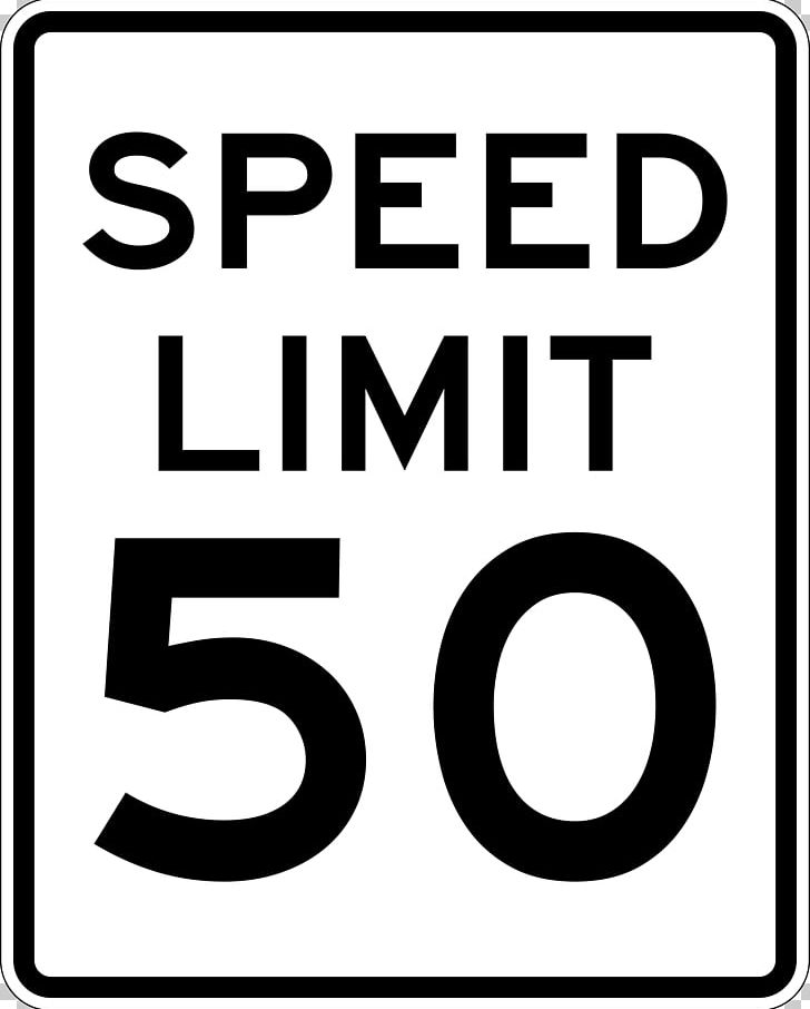 Speed Limit Traffic Sign United States Miles Per Hour PNG.