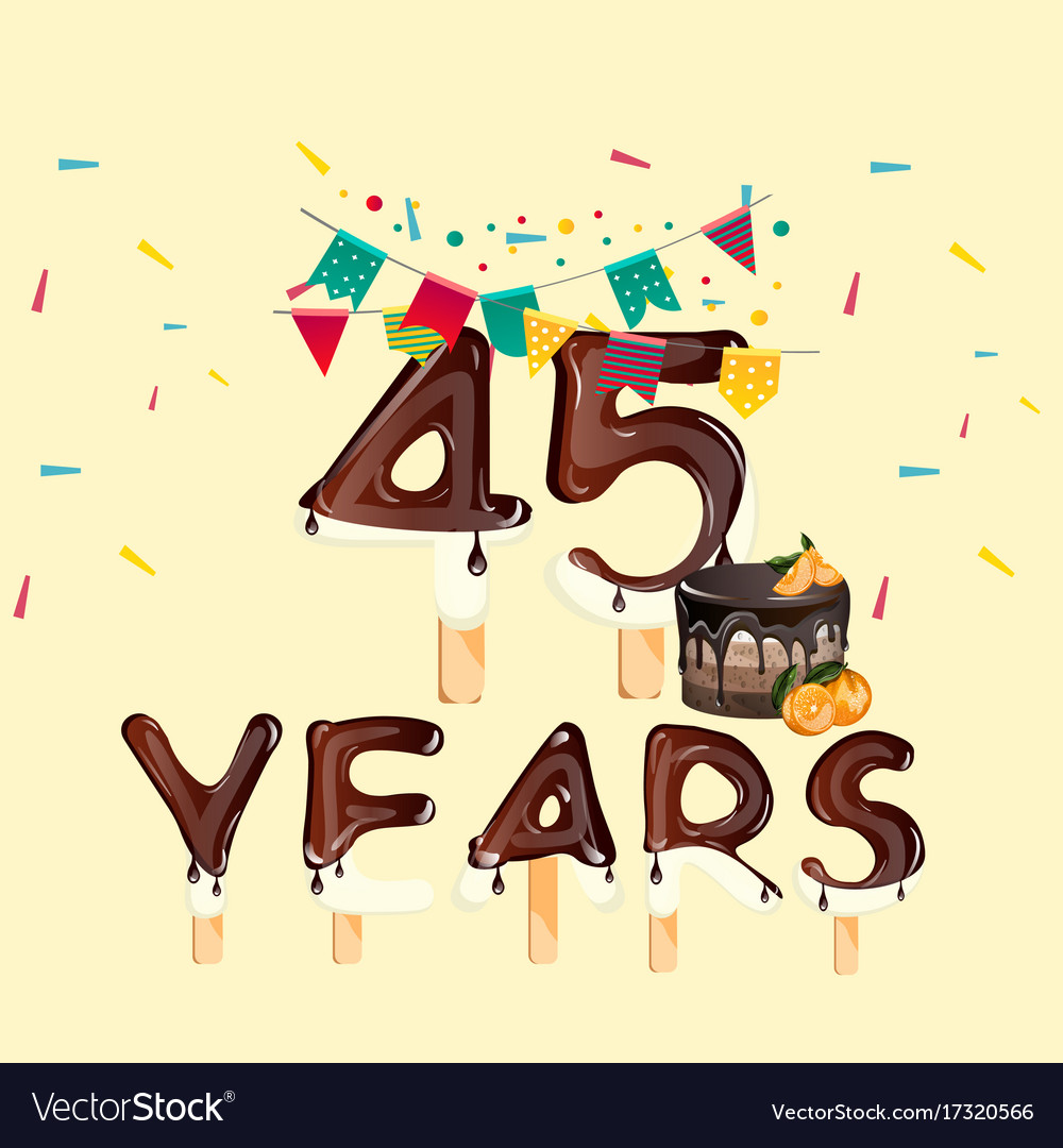 45 years happy birthday card.