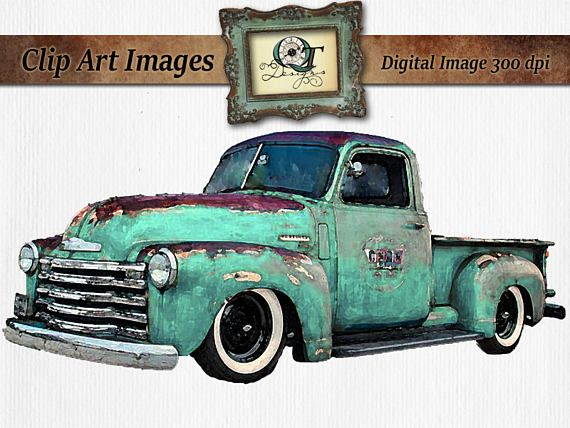 Turquoise Watercolor Vintage Truck Clipart Rusty Rustic.
