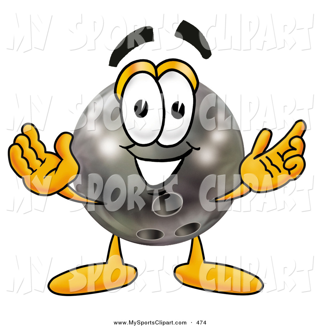 Sports Clip Art of a Happy Bowling Ball Mascot Cartoon Character.