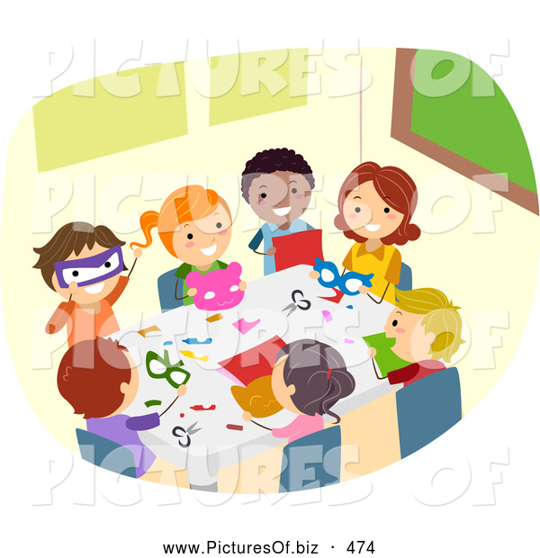 Vector Clipart of Diverse Stick Children Doing Crafts by BNP.