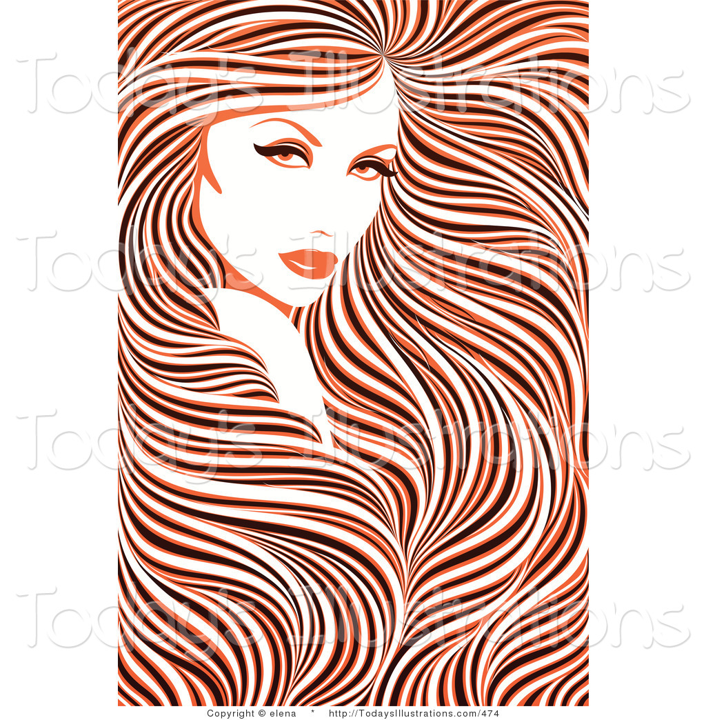 Clipart of a Stunning Woman with Long Hair with a Color Weave.