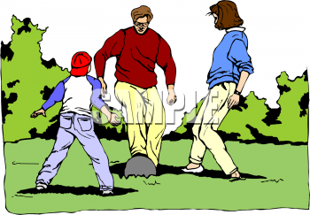Family Playing Sports Clipart.