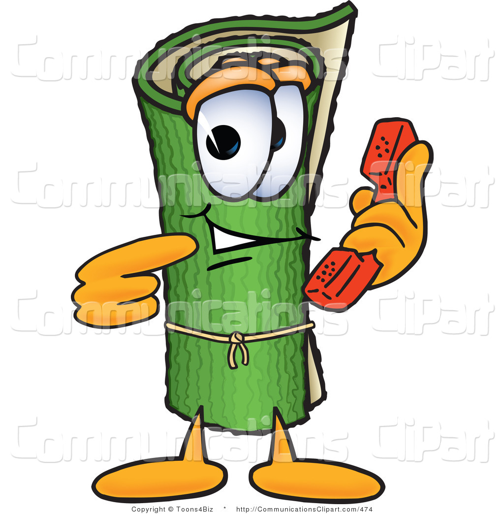 Communication Clipart of a Green Rolled Carpet Mascot Cartoon.