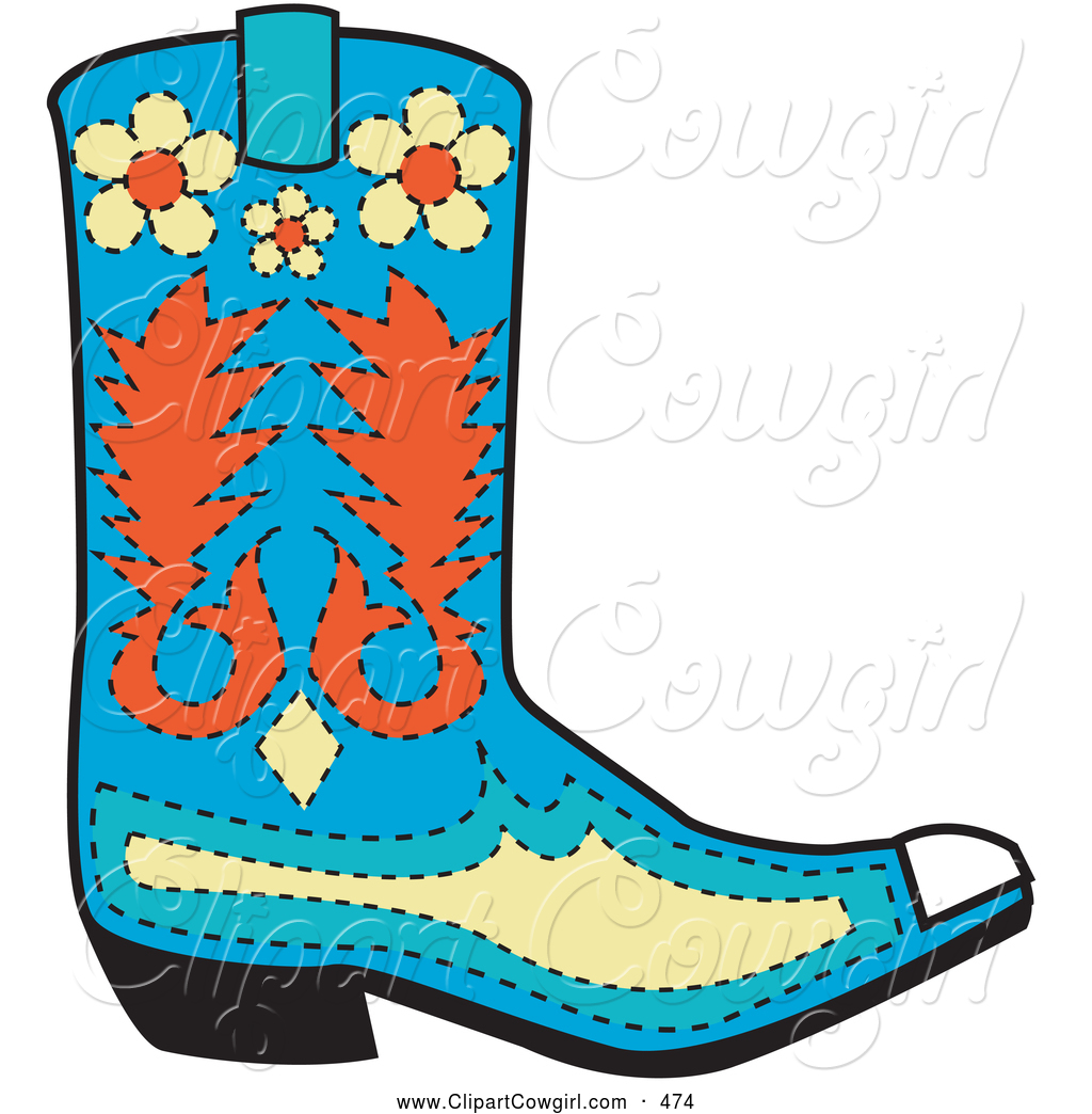 Clipart of a Patterned Blue Cowboy Boot with Orange and Yellow.