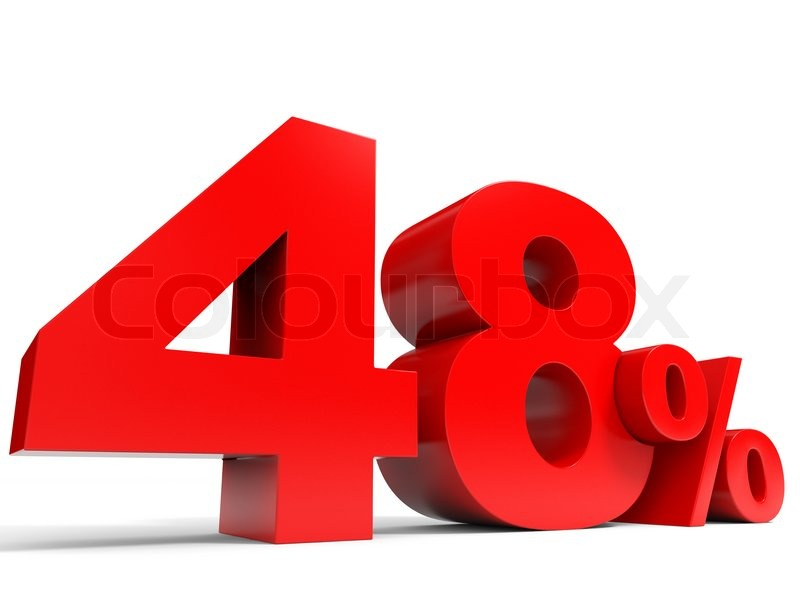 Red forty eight percent off. Discount 48%. 3D illustration.