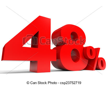Clipart of Red forty eight percent off. Discount 48%. 3D.