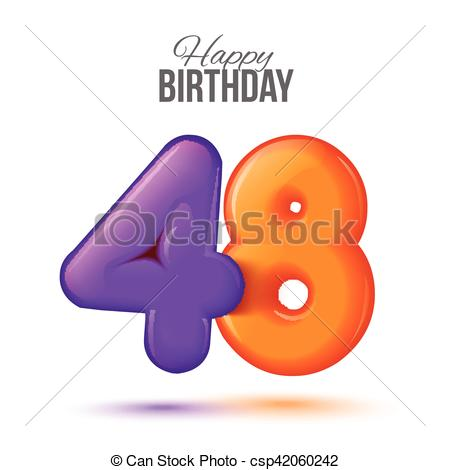 EPS Vector of Birthday greeting card template with glossy forty.