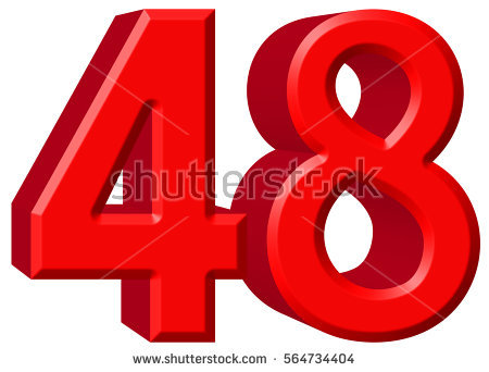 Red Numbers 48 On White Background Stock Illustration 427204573.