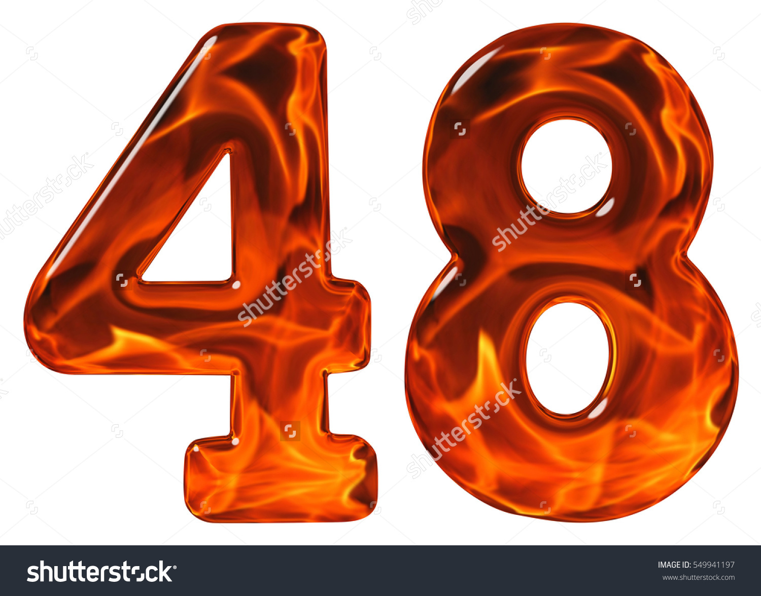 48 Forty Eight Numeral Imitation Glass Stock Photo 549941197.