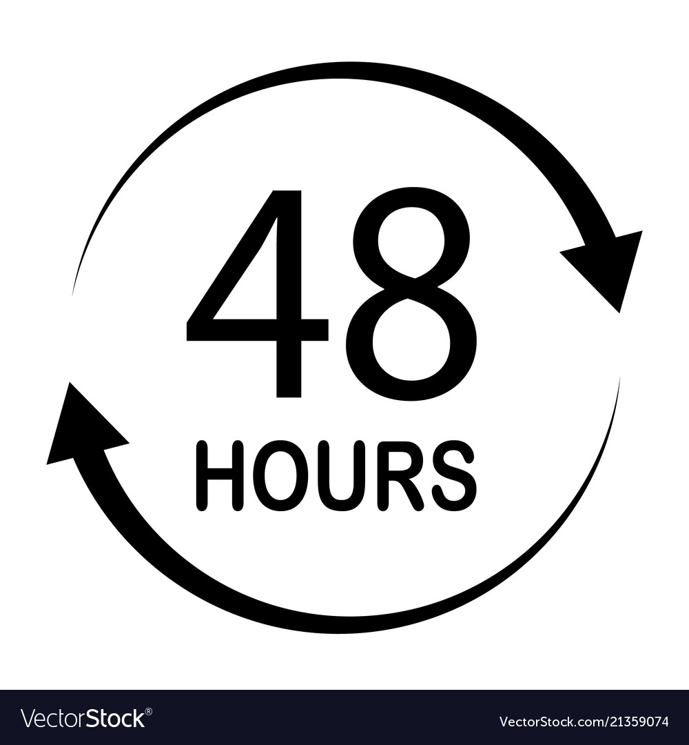 48 hours on white background flat style 48 hours.