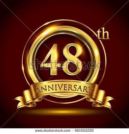 48th golden anniversary logo, forty eight years birthday.