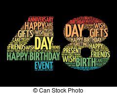 Vector illustration of happy 48th anniversary celebration.