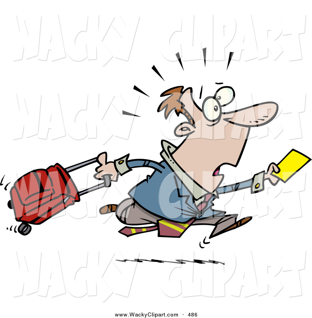 Clipart of a Nervous and Late Traveler Man Running and Pulling His.