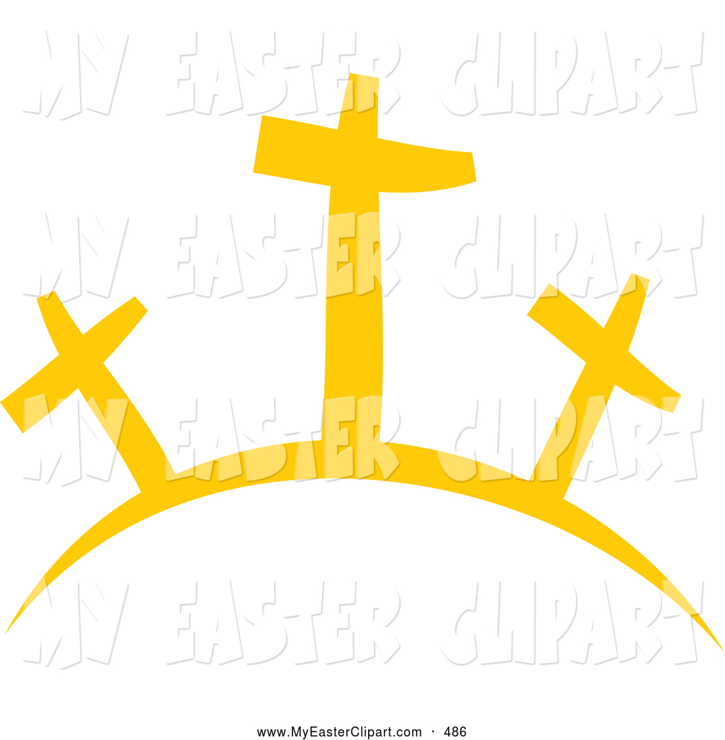 Three Crosses On A Hill Clipart.