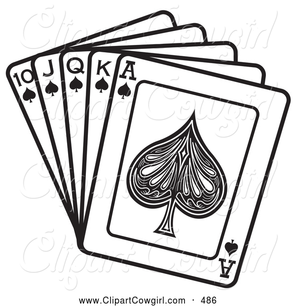 Clipart of a Hand of Cards Showing a 10, Jack, Queen, King and Ace.