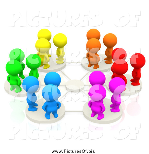 Clipart of 3d Colorful People on Network Pods by Andresr.