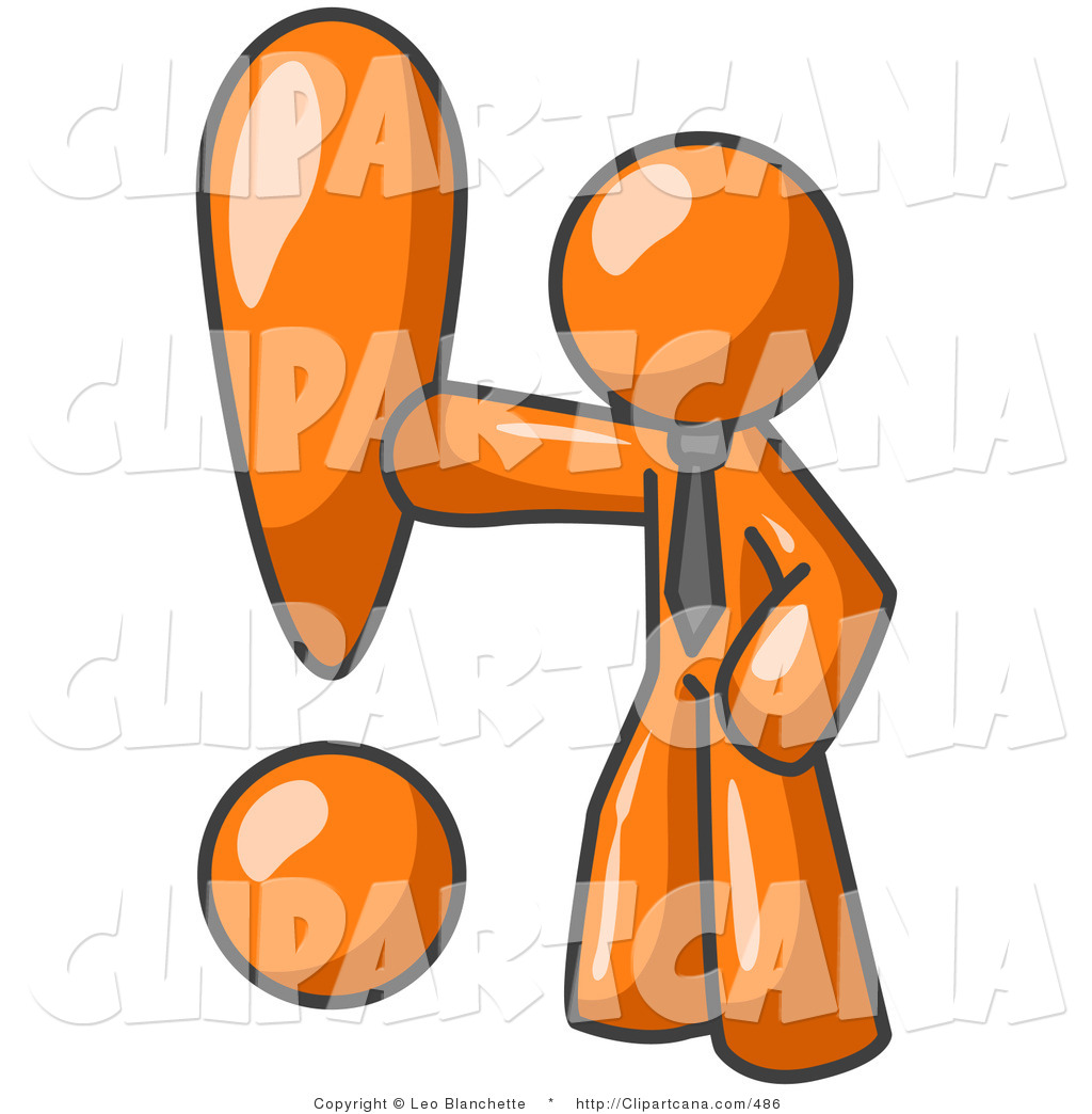 Vector Clip Art of an Orange Businessman Standing by and Touching.