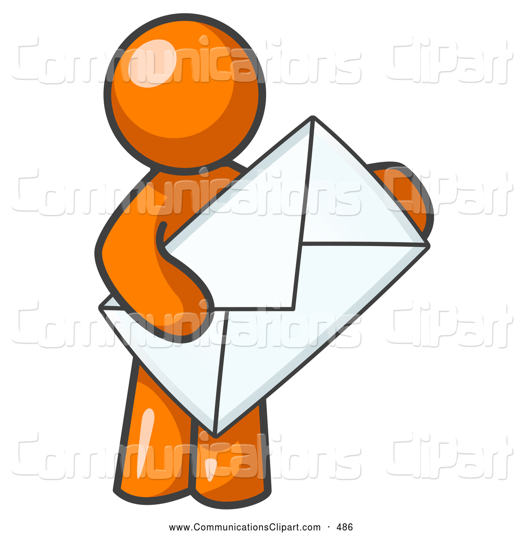 Communication Clipart of a Average Office Worker Orange Person.