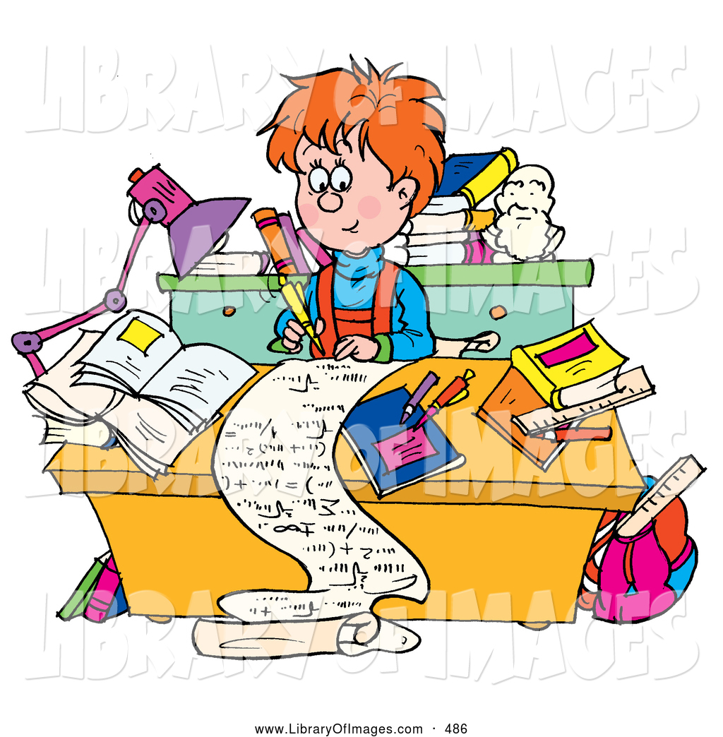 Clip Art of a Friendly Smart School Boy Writing a Long Story at a.
