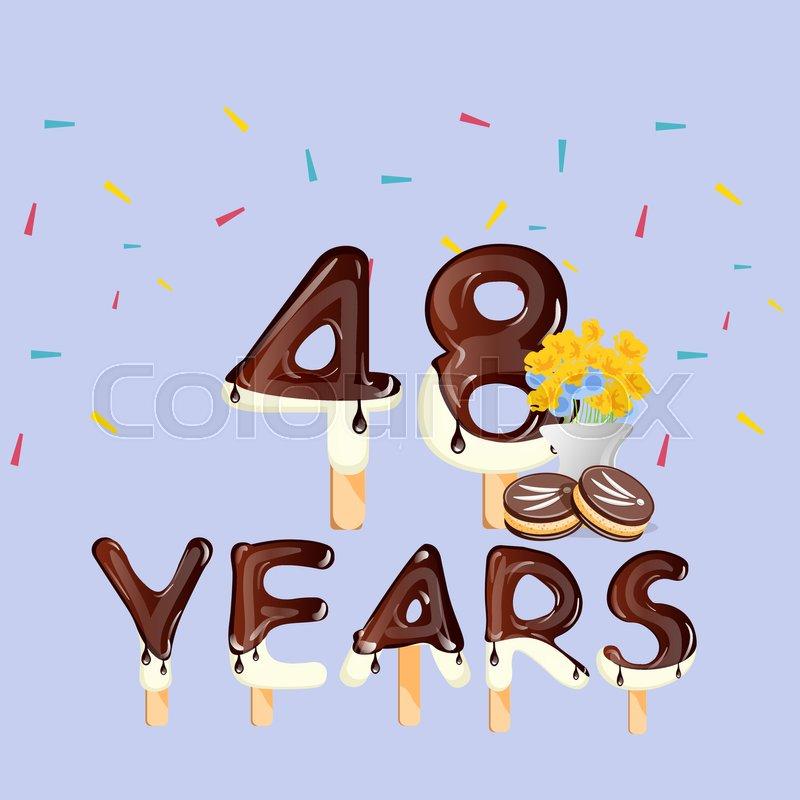 48th Years Happy Birthday card. Vector.