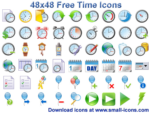 48x48 Free Time Icons.
