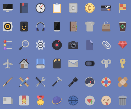 Flat minimalistic 48x48 icons. PSD attached. 48 media & web icons.