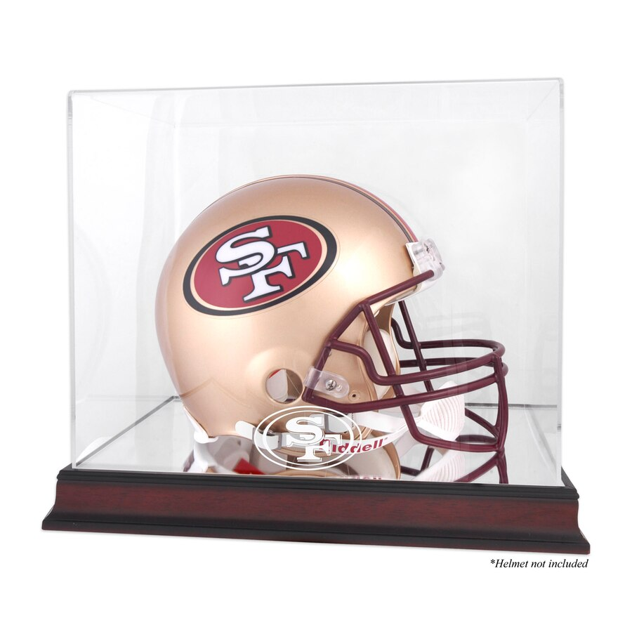 San Francisco 49ers Mahogany Helmet Logo Display Case with Mirror Back.