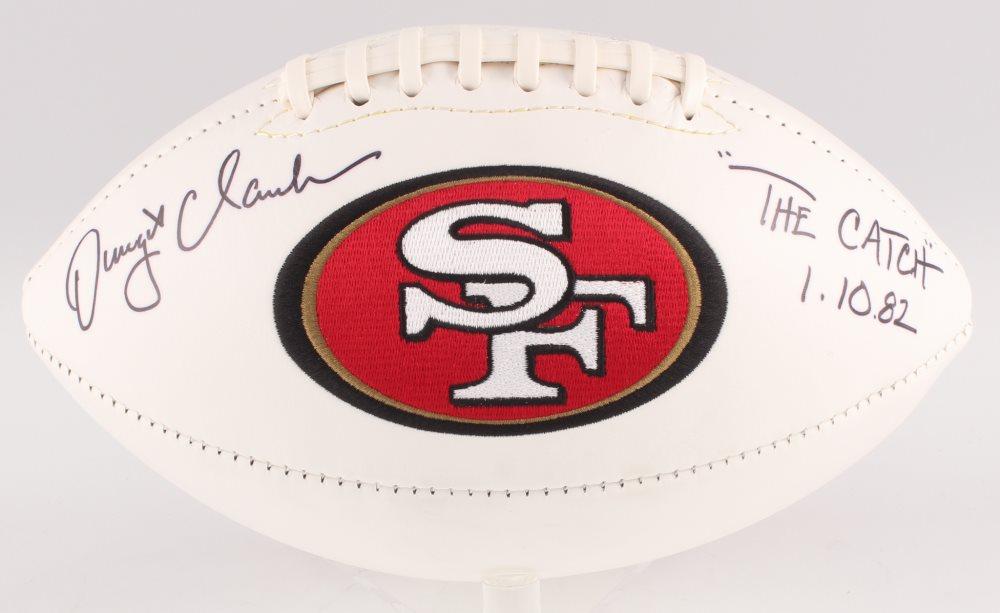 Dwight Clark Signed San Francisco 49ers Logo Football Inscribed \