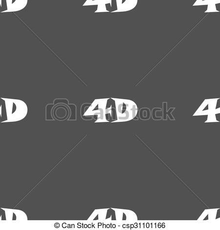 Clip Art Vector of 4D sign icon. 4D.